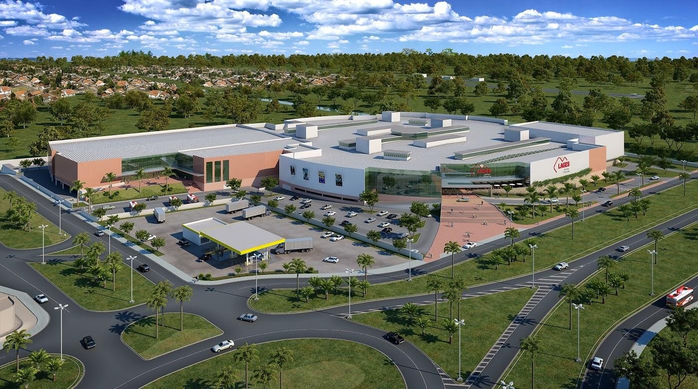 Imagem aérea do complexo do Lages Garden Shopping, onde foi implantado o projeto elétrico de climatização.