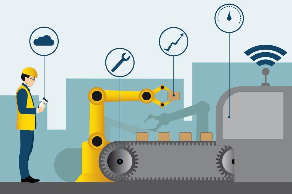 Ilustração de um engenheiro acompanhando os indicadores de uma fábrica da indústria 4.0 que está conectada a internet industrial das coisas.