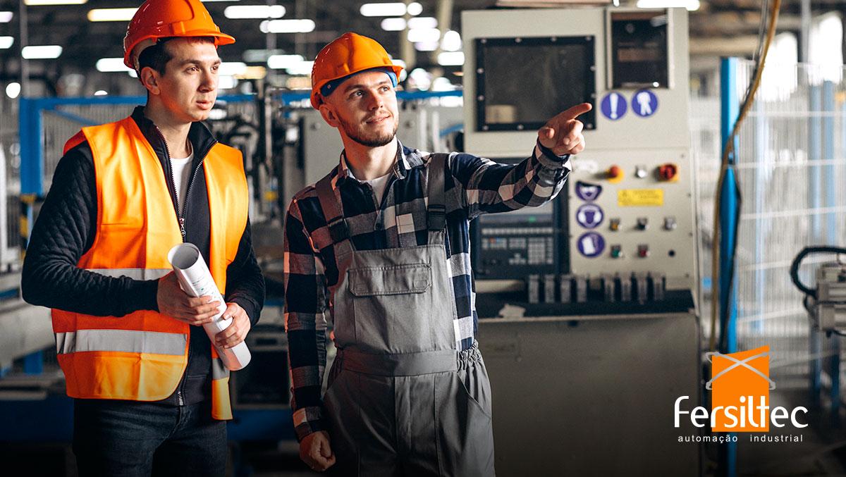 Processo produtivo na indústria.