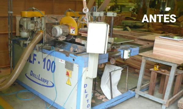 Equipamento antes de ser adequado a norma de segurança do maquinário fabril.