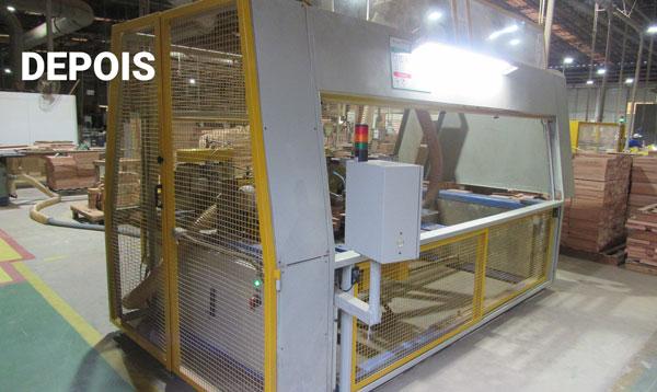 Equipamento depois de ser adequado à norma de segurança do maquinário fabril.